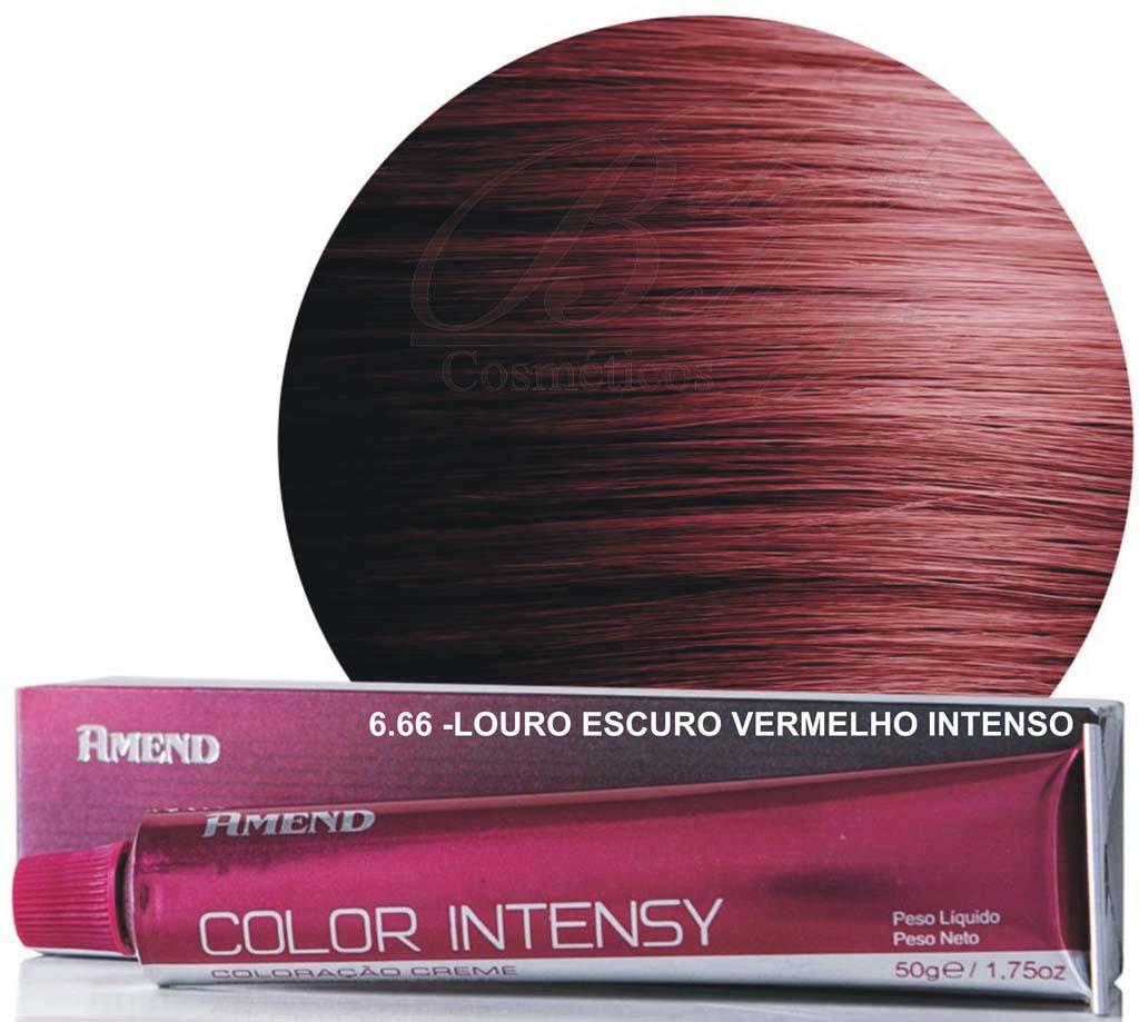 Tinta Amend Color Intensy 50g 6.66 Louro Escuro Vermelho Intenso