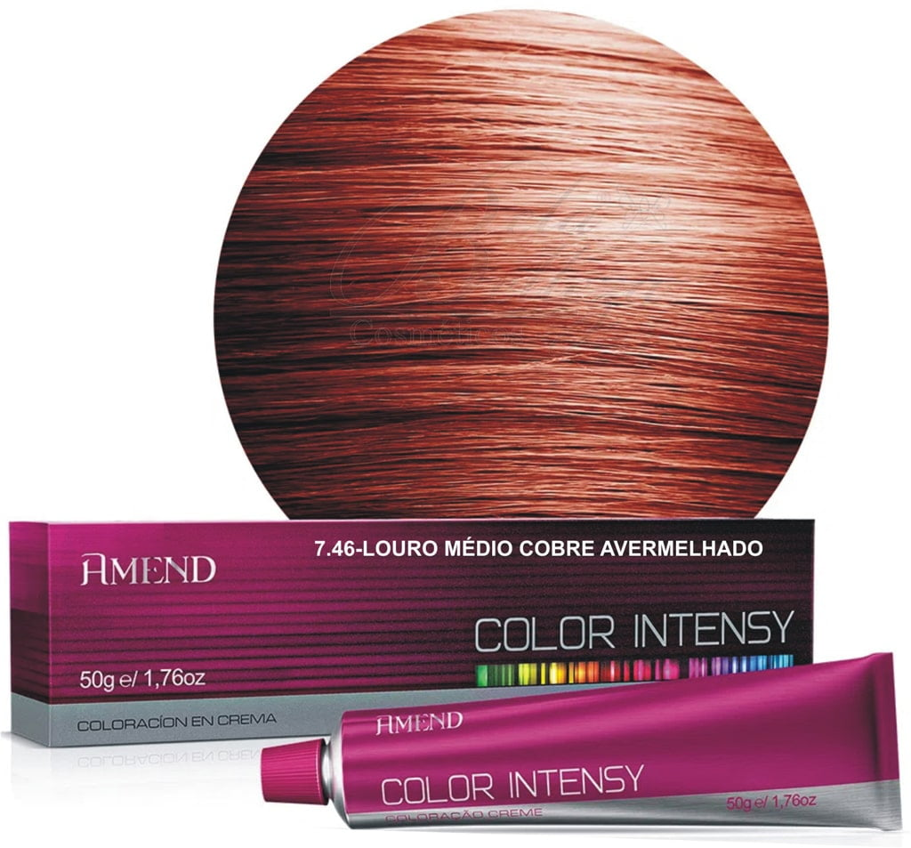 Tinta Amend Color Intensy 50g 7.46 Louro Medio Cobre Avermelhado