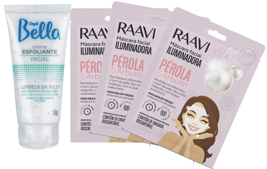 Kit Mascara Facial Iluminadora Perola e Arbutin Raavi + Esfoliante