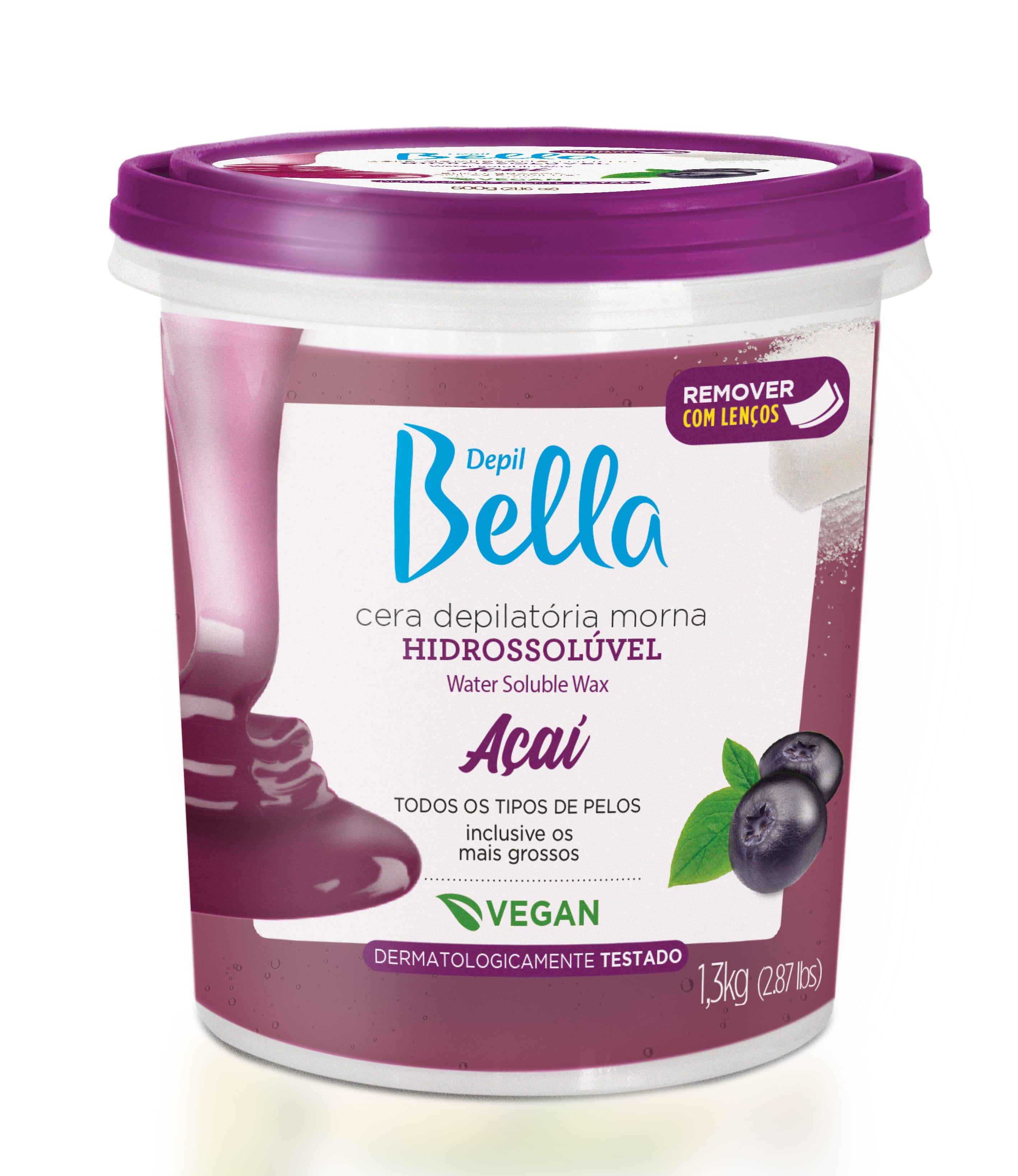 Cera Depil Bella Hidrossoluvel 1,3kg Acai Vegana