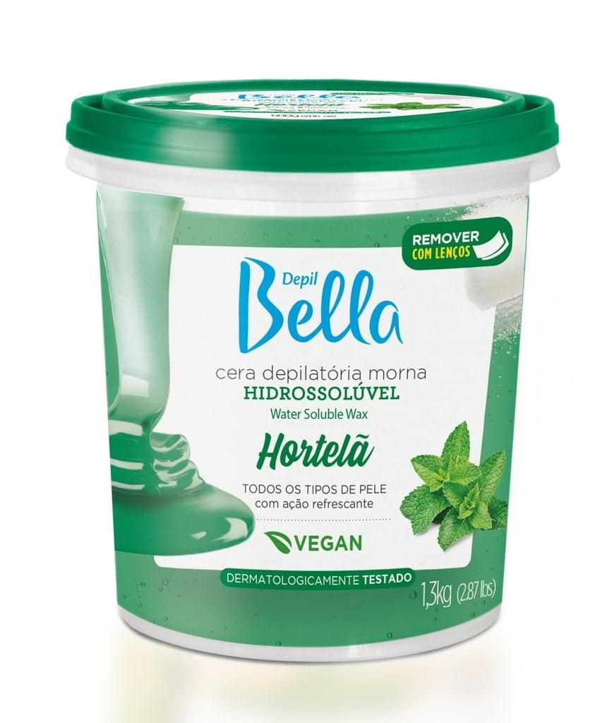 Cera Depil Bella Hidrossoluvel Hortela Vegana 1,3kg