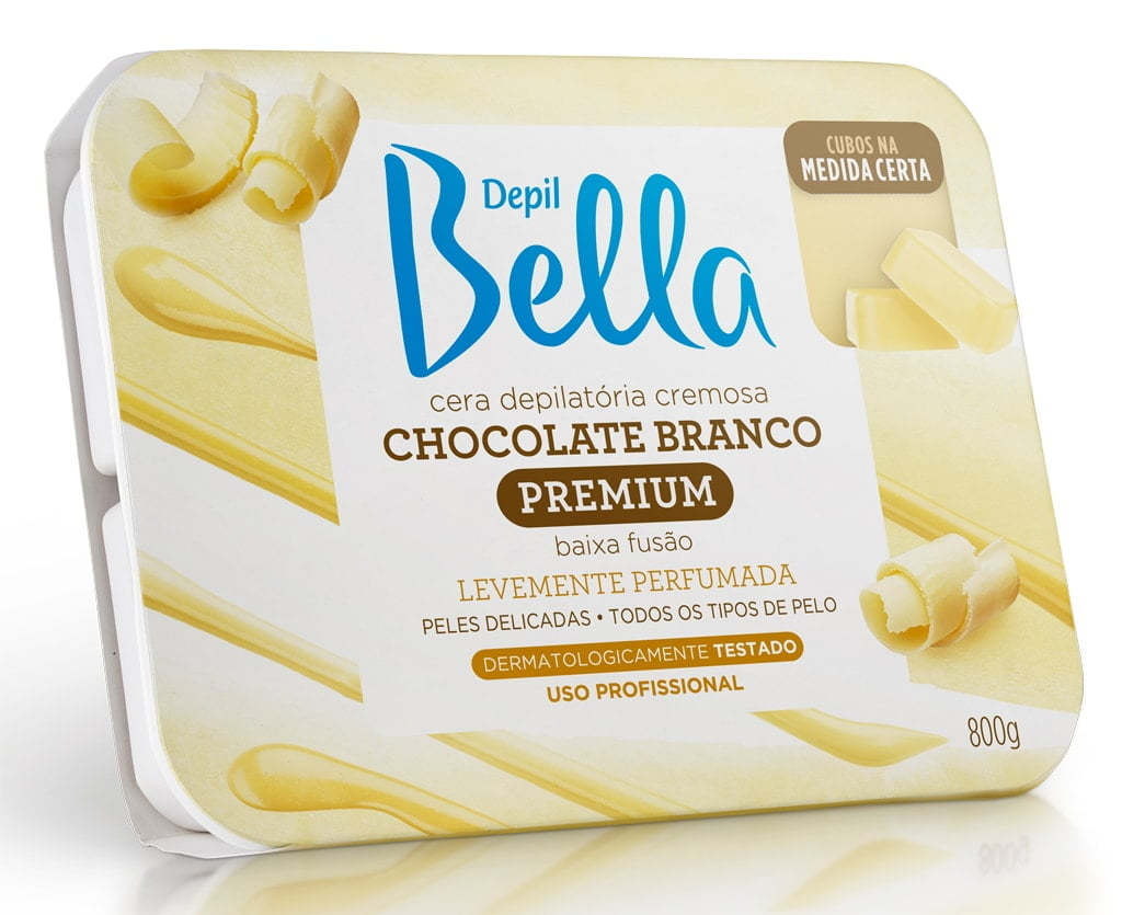 Cera Depil Bella Quente 800g Chocolate Branco
