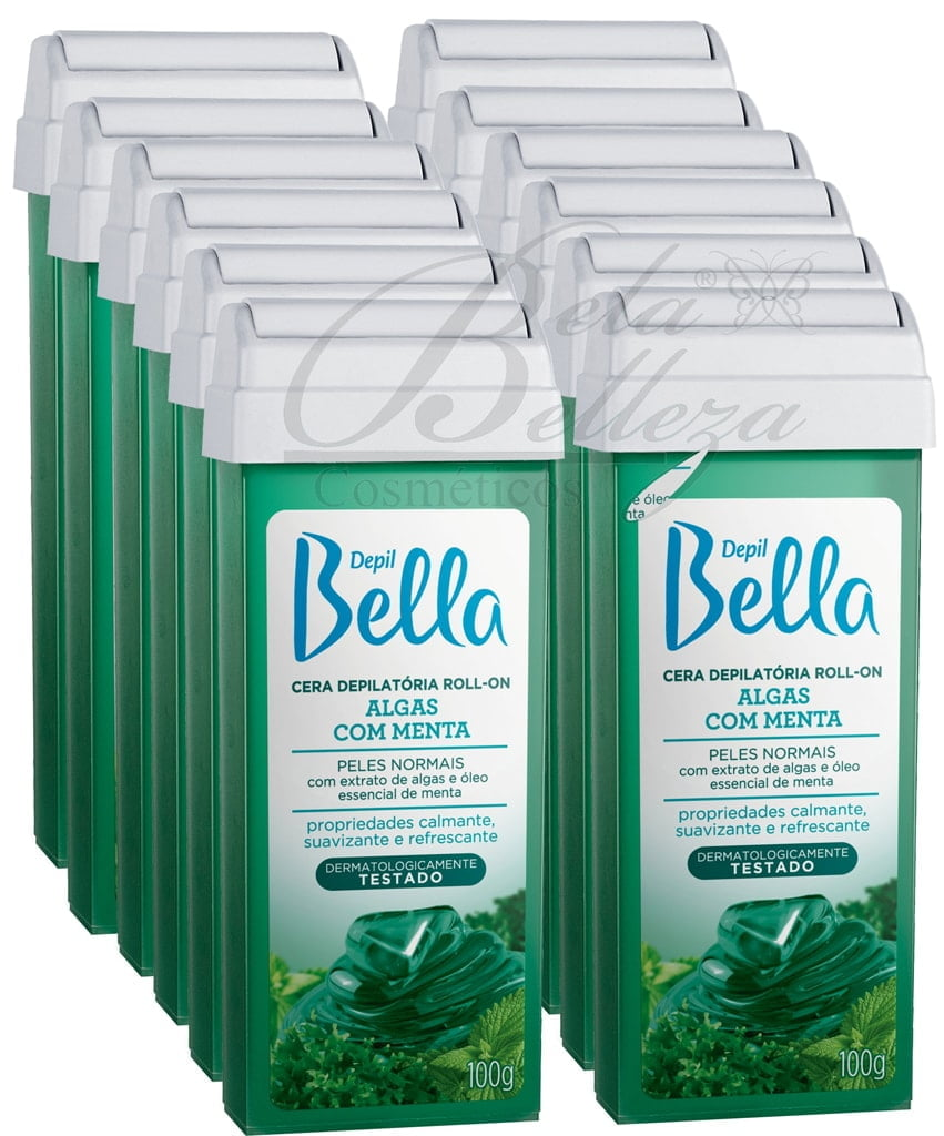 Cera Depil Bella Roll-on 100g Algas com Menta Kit 12un