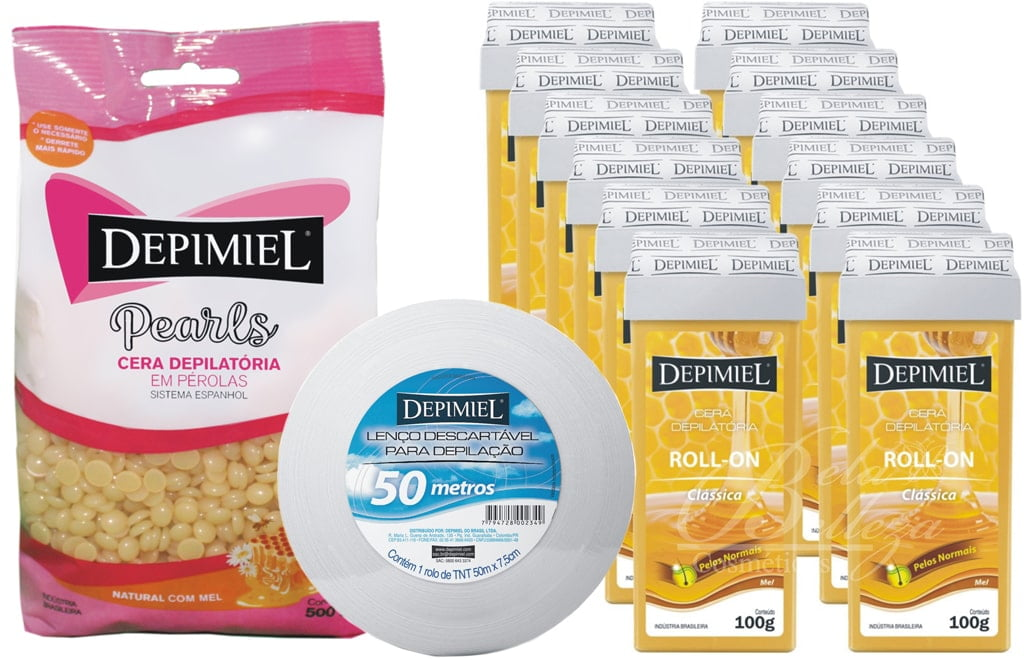 Cera Depimiel Mel Kit Cera Quente + 12 Roll-on + Papel Rolo
