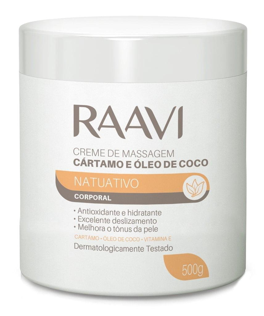 Creme de Massagem Natuativo Raavi 500g Cartamo e Oleo de Coco