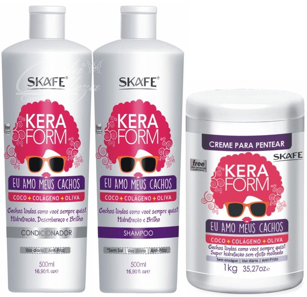 Keraform Skafe Eu Amo Meus Cachos Kit Shampoo Condicionador Leave in