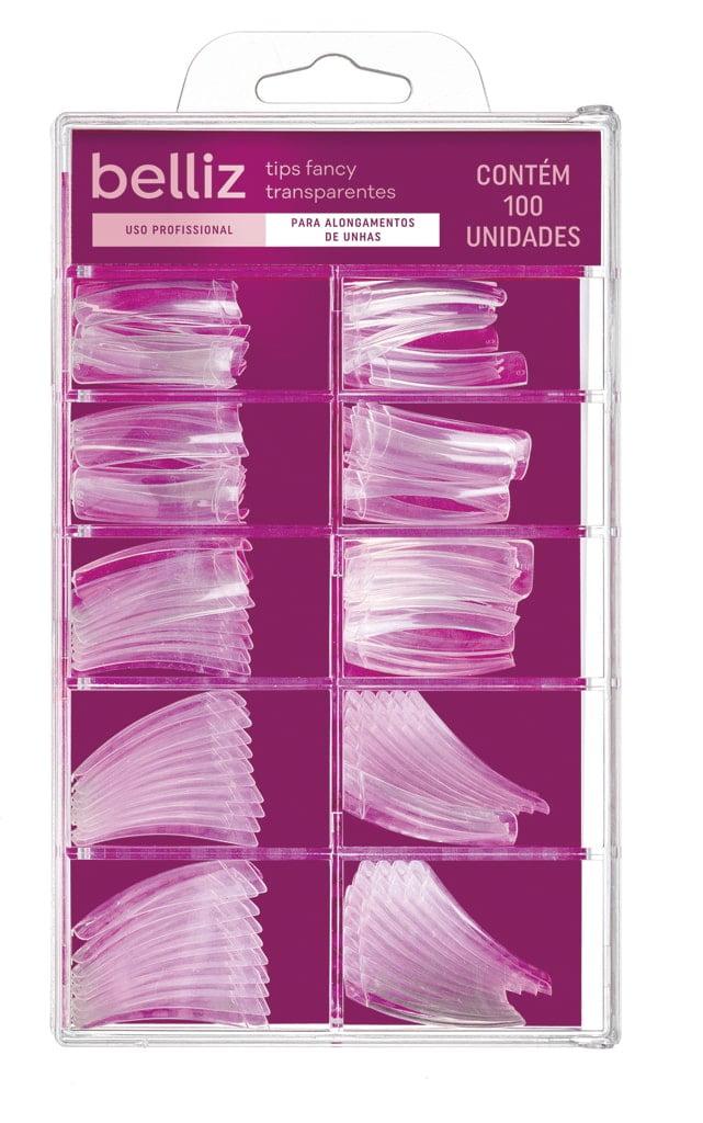 Unha Postica para Alongamento Belliz Fancy Transparente c/100un Tips