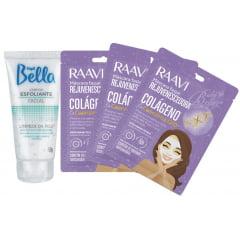 Kit Mascara Facial Rejuvenescedora Colageno Raavi + Esfoliante