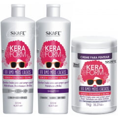 Keraform Skafe Eu Amo Meus Cachos Kit Shampoo Condicionador Leave in